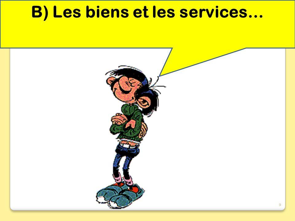 B) Les biens et les services…