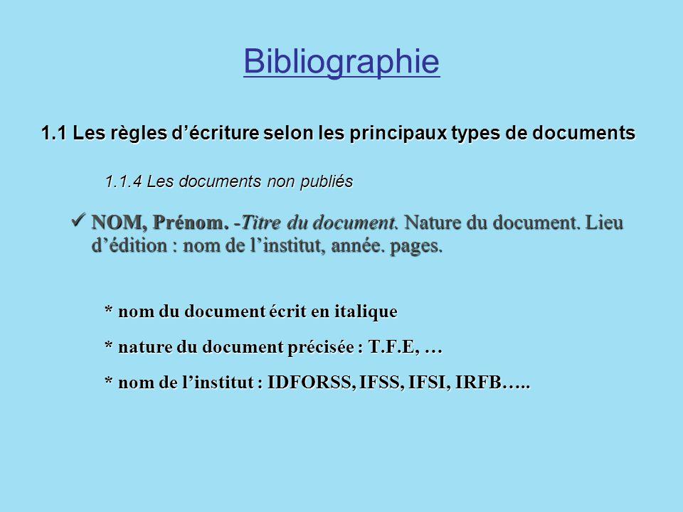 Bibliographie1.1 Les règles d'écriture selon les principaux types de documents 1.1.4 Les documents non publiés.