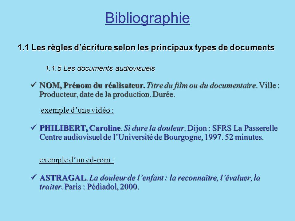 Bibliographie1.1 Les règles d'écriture selon les principaux types de documents 1.1.5 Les documents audiovisuels.