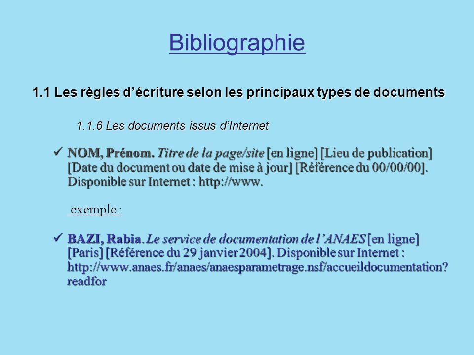 Bibliographie1.1 Les règles d'écriture selon les principaux types de documents 1.1.6 Les documents issus d'Internet.