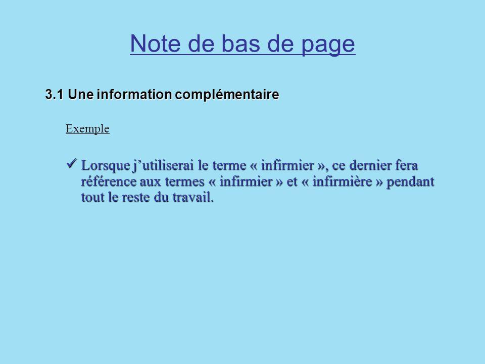 Note de bas de page 3.1 Une information complémentaire. Exemple.