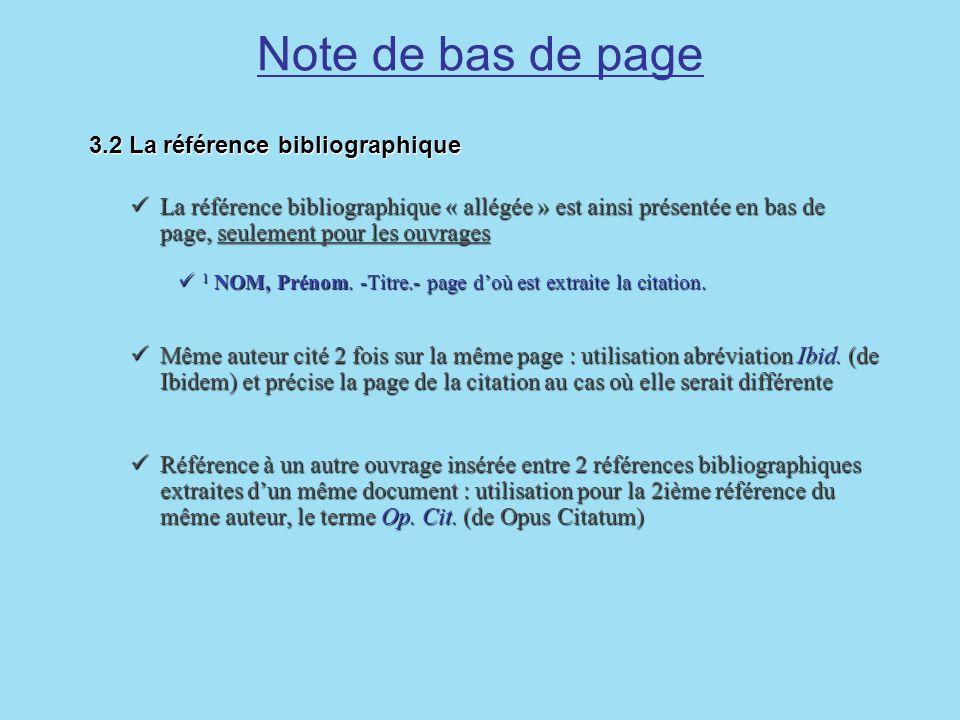 Note de bas de page 3.2 La référence bibliographique