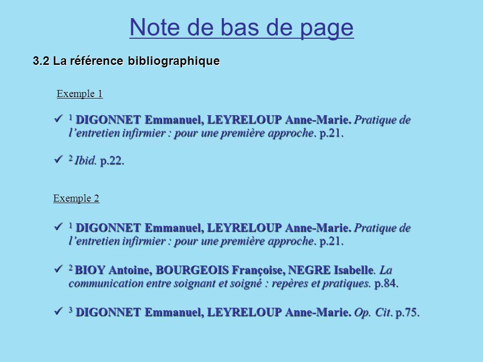 Note de bas de page Exemple 1 3.2 La référence bibliographique