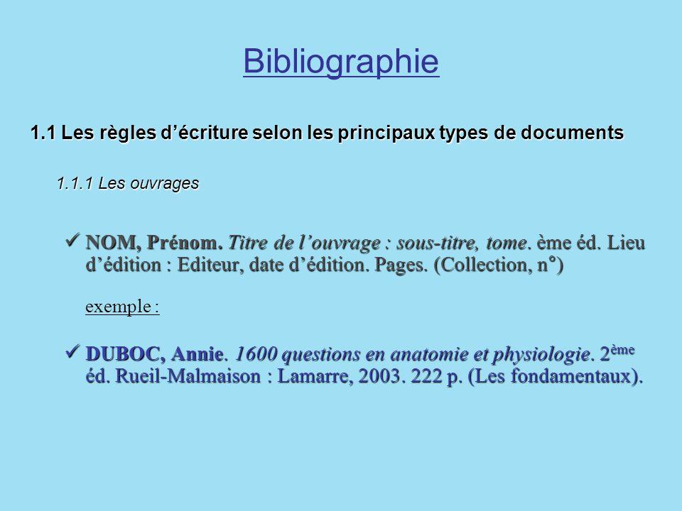 Bibliographie 1.1 Les règles d'écriture selon les principaux types de documents. 1.1.1 Les ouvrages.