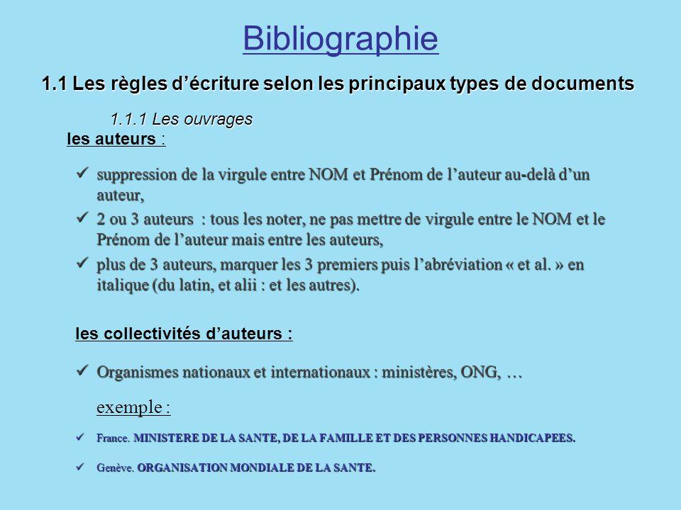 Bibliographie1.1 Les règles d'écriture selon les principaux types de documents 1.1.1 Les ouvrages les auteurs :