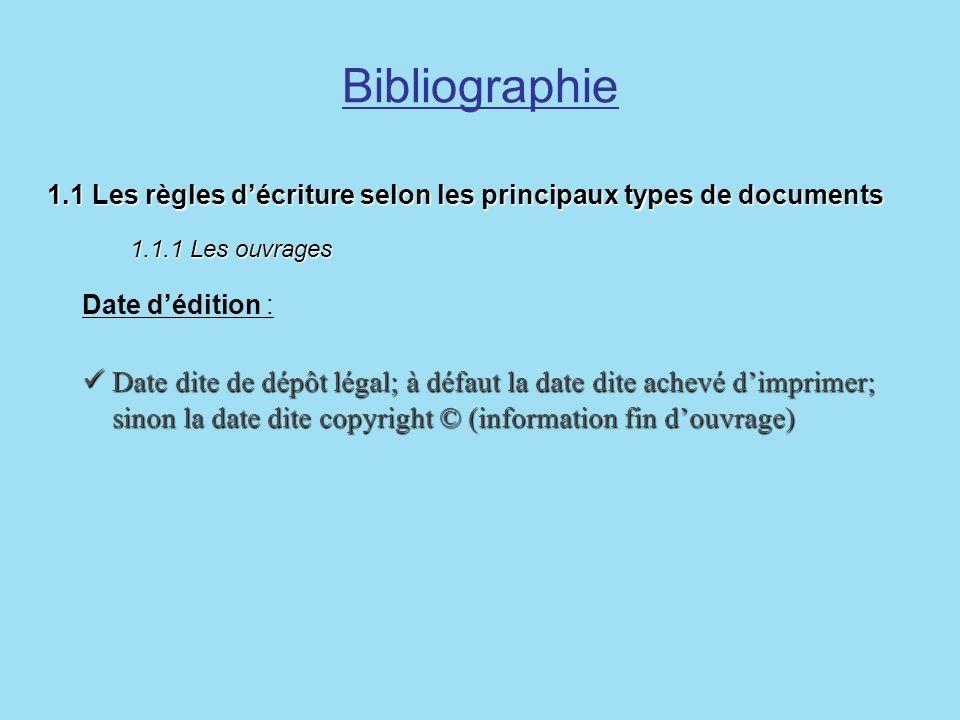 Bibliographie1.1 Les règles d'écriture selon les principaux types de documents 1.1.1 Les ouvrages.