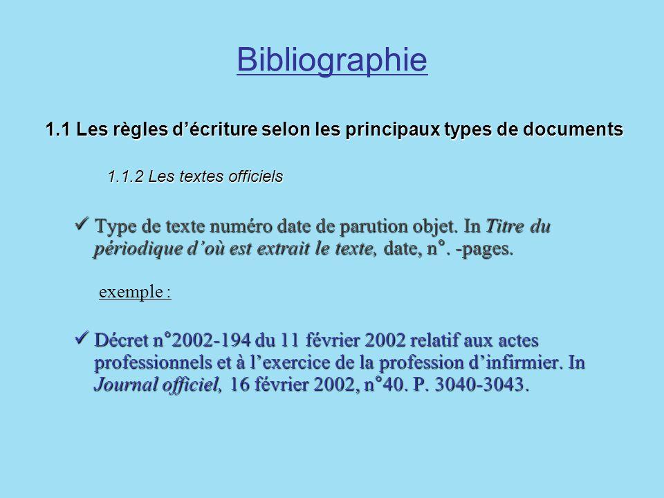 Bibliographie1.1 Les règles d'écriture selon les principaux types de documents 1.1.2 Les textes officiels.