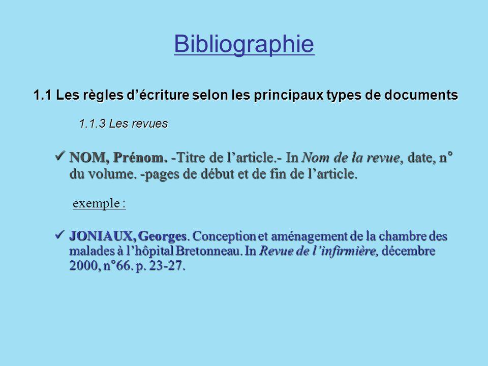 Bibliographie1.1 Les règles d'écriture selon les principaux types de documents 1.1.3 Les revues.
