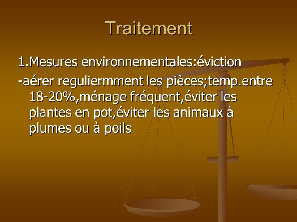 Traitement 1.Mesures environnementales:éviction