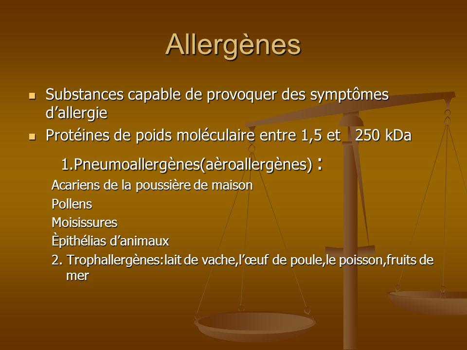 Allergènes 1.Pneumoallergènes(aèroallergènes) :