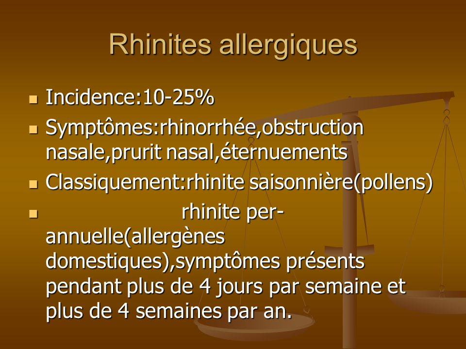 Rhinites allergiques Incidence:10-25%