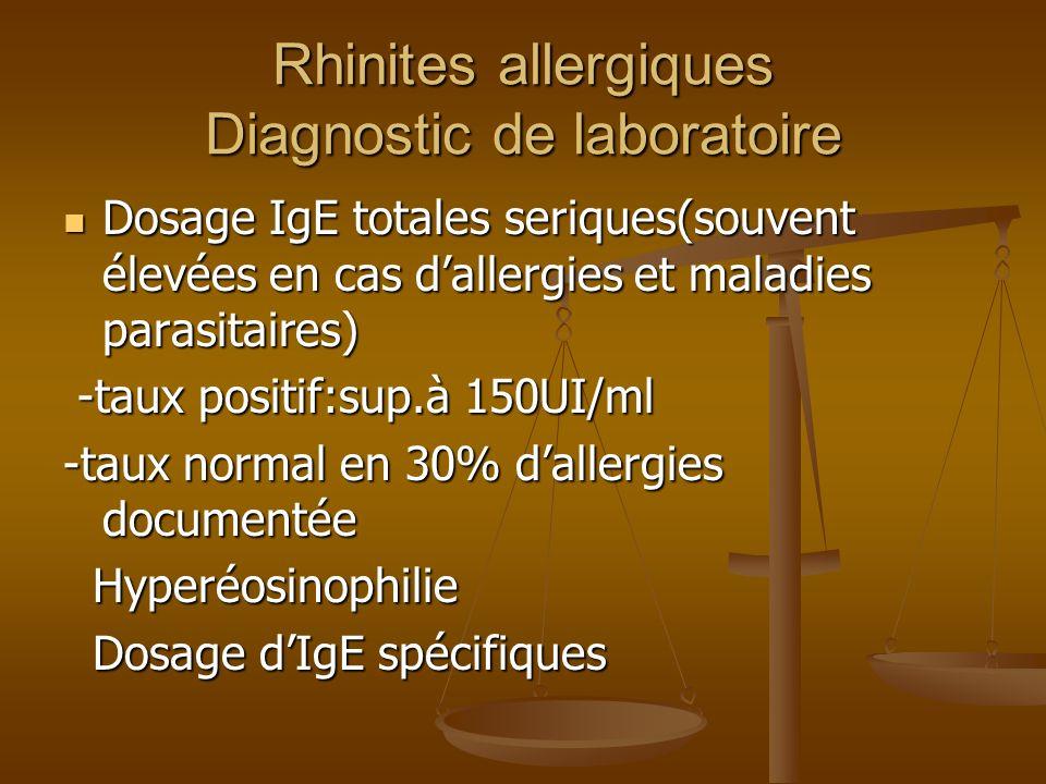 Rhinites allergiques Diagnostic de laboratoire