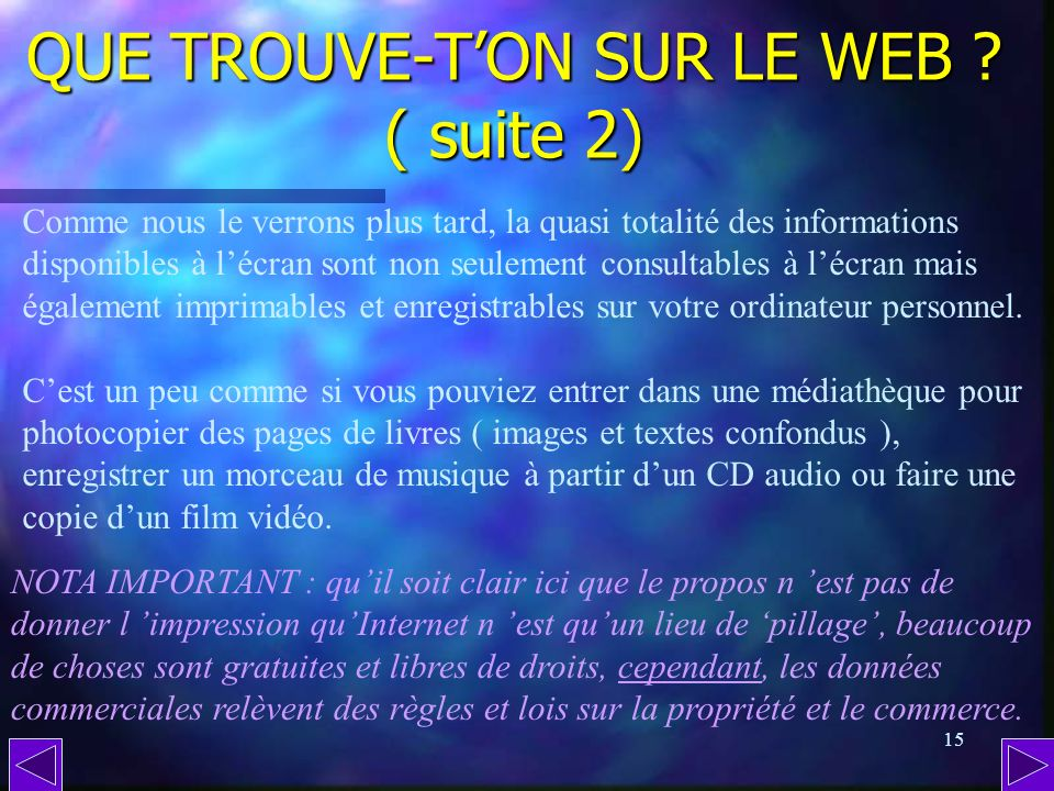 QUE TROUVE-T'ON SUR LE WEB ( suite 2)