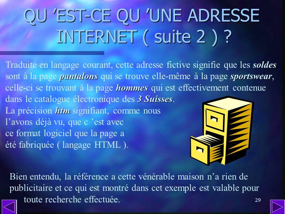 QU 'EST-CE QU 'UNE ADRESSE INTERNET ( suite 2 )
