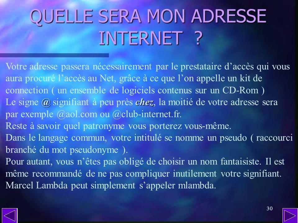 QUELLE SERA MON ADRESSE INTERNET