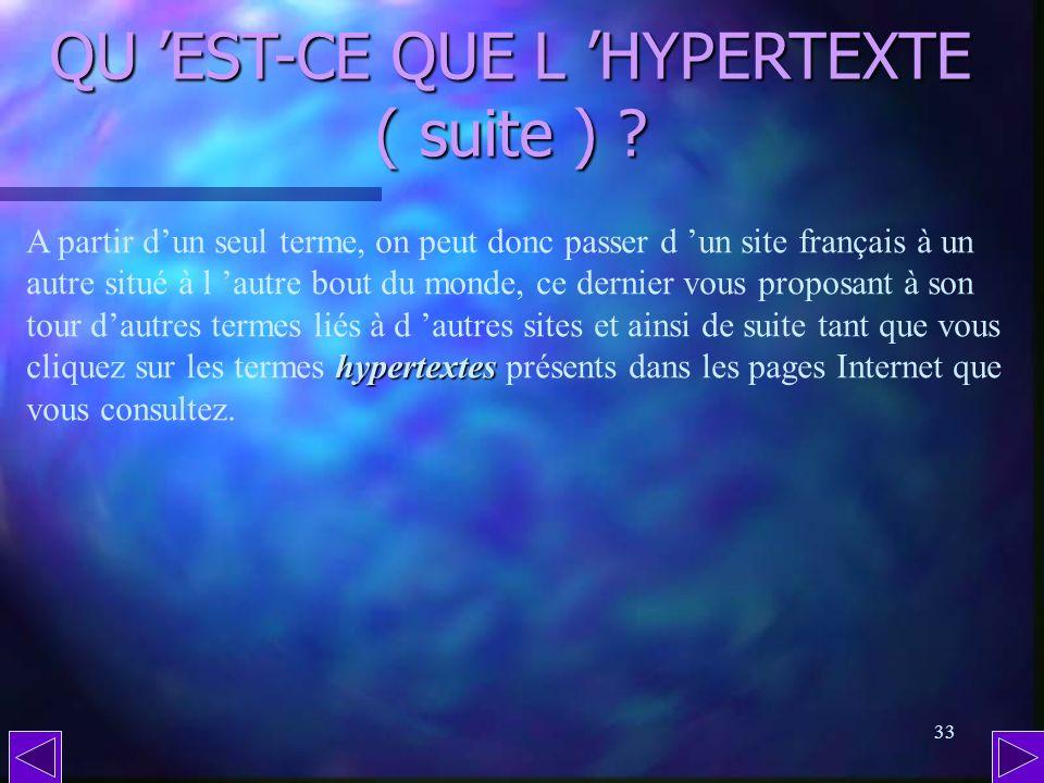 QU 'EST-CE QUE L 'HYPERTEXTE ( suite )