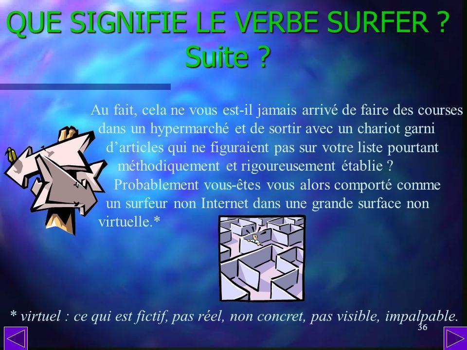 QUE SIGNIFIE LE VERBE SURFER Suite