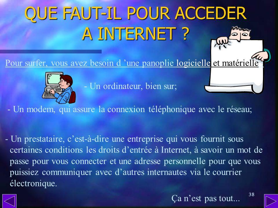 QUE FAUT-IL POUR ACCEDER A INTERNET