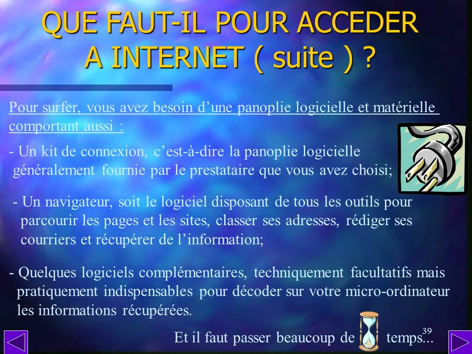 QUE FAUT-IL POUR ACCEDER A INTERNET ( suite )