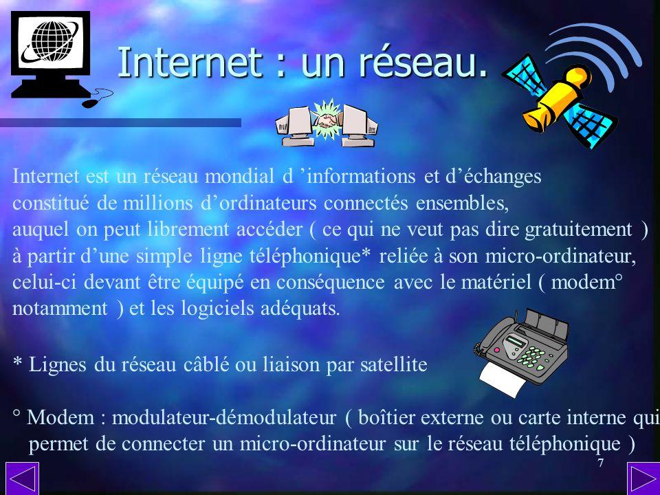 Internet : un réseau. Internet est un réseau mondial d 'informations et d'échanges. constitué de millions d'ordinateurs connectés ensembles,