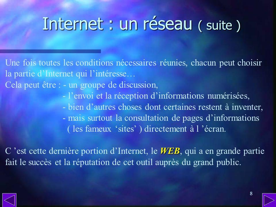 Internet : un réseau ( suite )