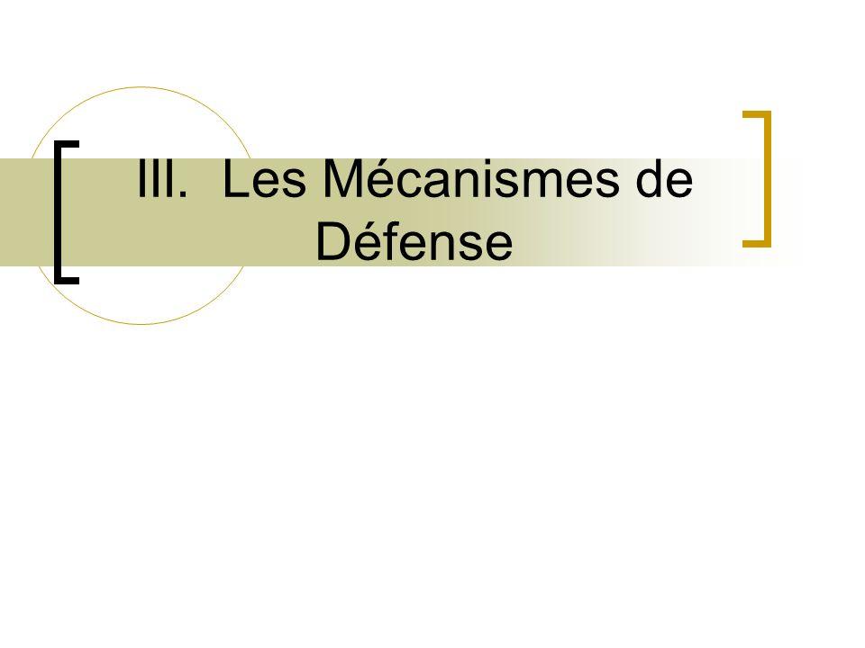 III. Les Mécanismes de Défense