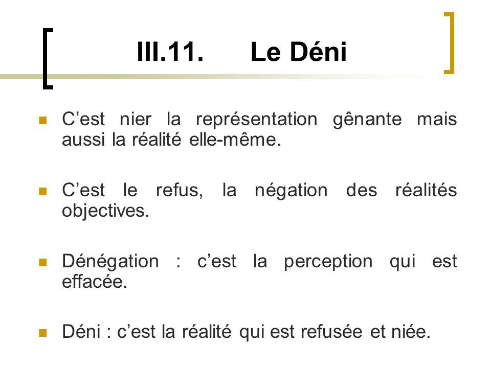 III.11. Le Déni C'est nier la représentation gênante mais aussi la réalité elle-même. C'est le refus, la négation des réalités objectives.