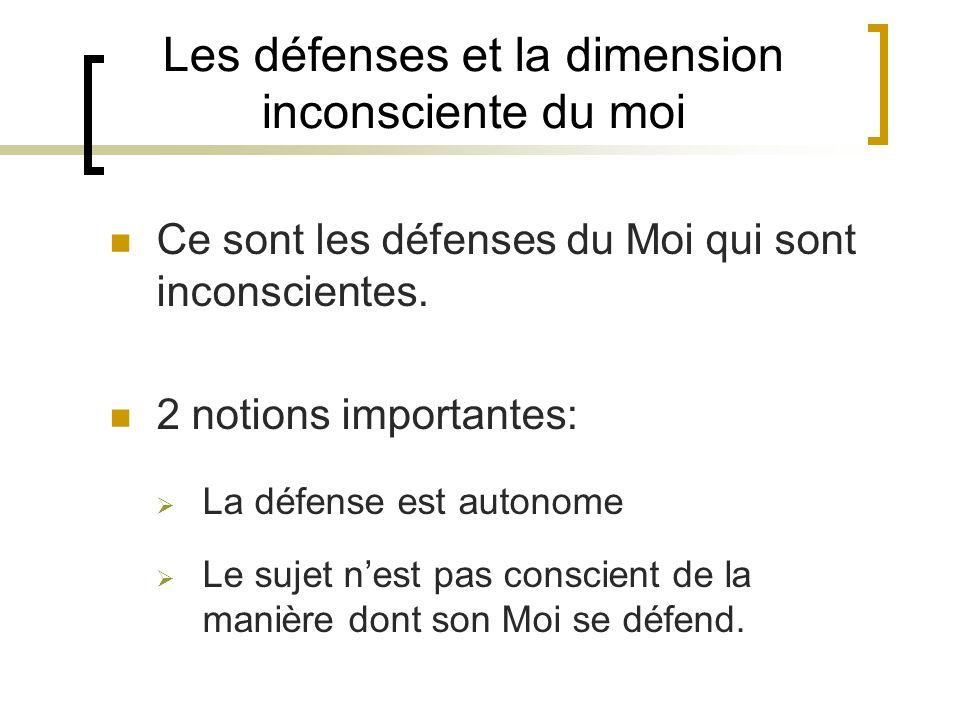 Les défenses et la dimension inconsciente du moi