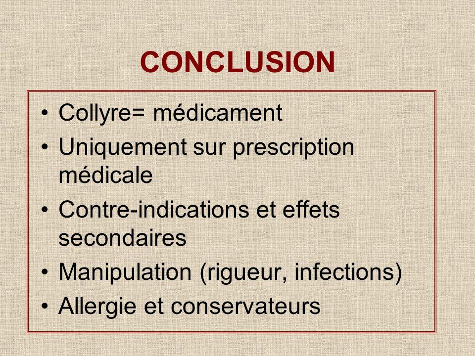 CONCLUSION Collyre= médicament Uniquement sur prescription médicale
