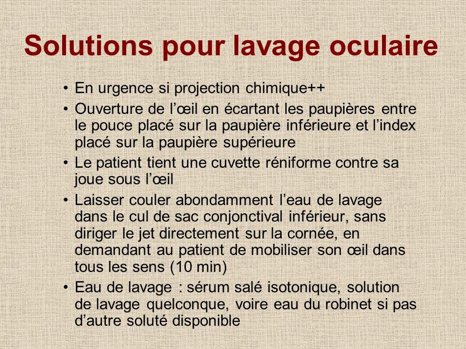 Solutions pour lavage oculaire