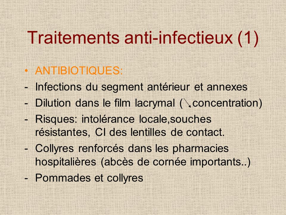 Traitements anti-infectieux (1)