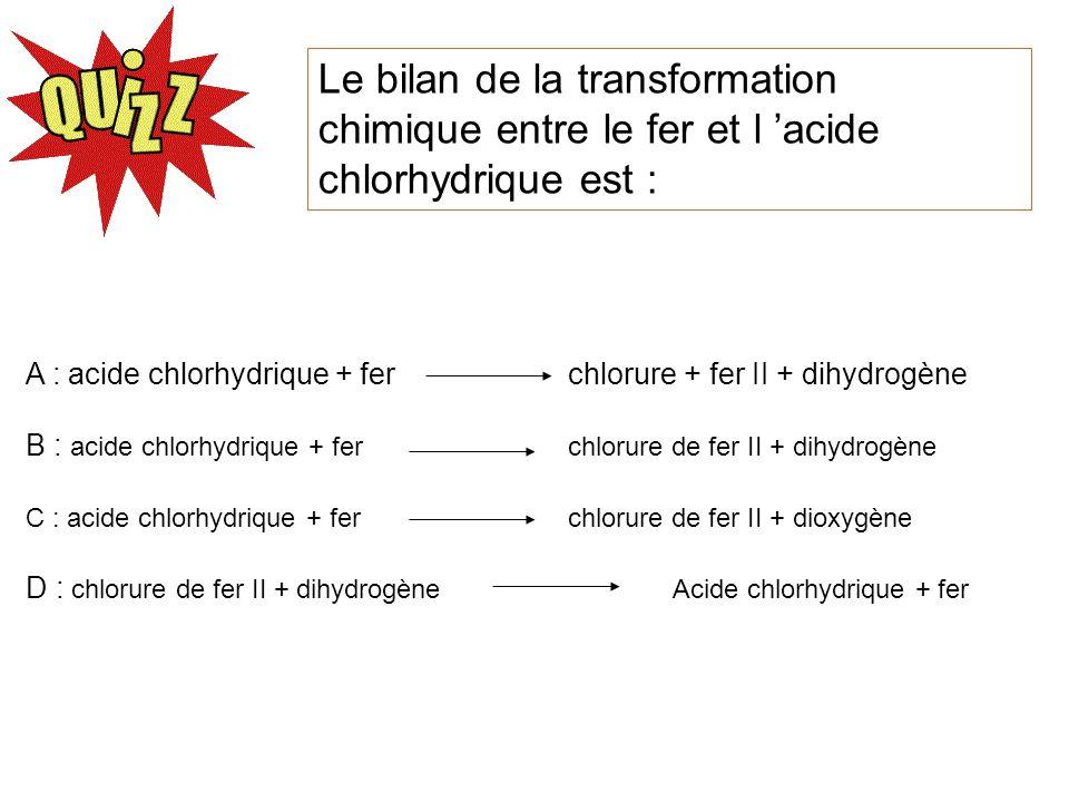 Le bilan de la transformation chimique entre le fer et l 'acide chlorhydrique est :