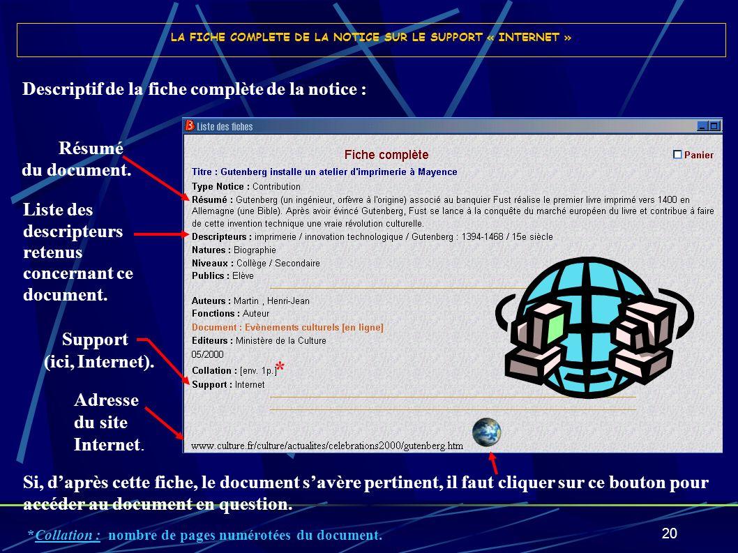 LA FICHE COMPLETE DE LA NOTICE SUR LE SUPPORT « INTERNET »