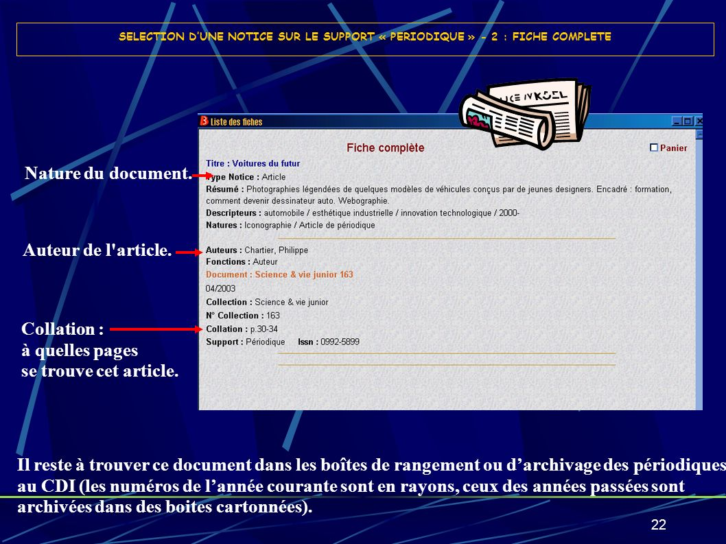Nature du document. Auteur de l article. Collation : à quelles pages