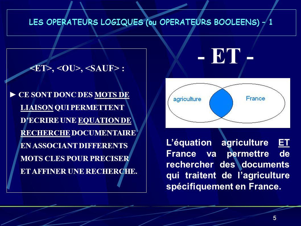 LES OPERATEURS LOGIQUES (ou OPERATEURS BOOLEENS) – 1