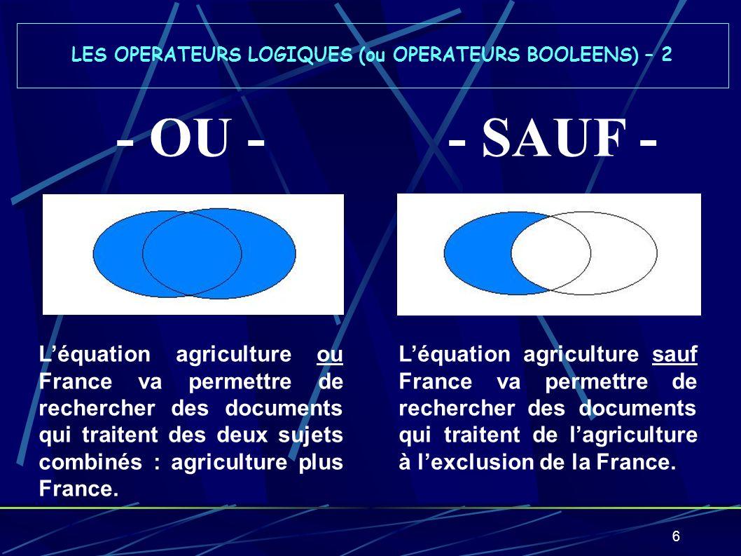LES OPERATEURS LOGIQUES (ou OPERATEURS BOOLEENS) – 2