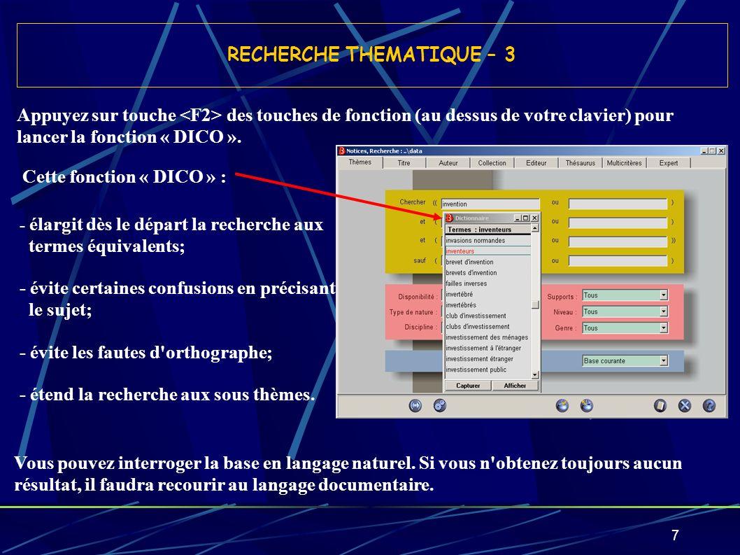 RECHERCHE THEMATIQUE – 3