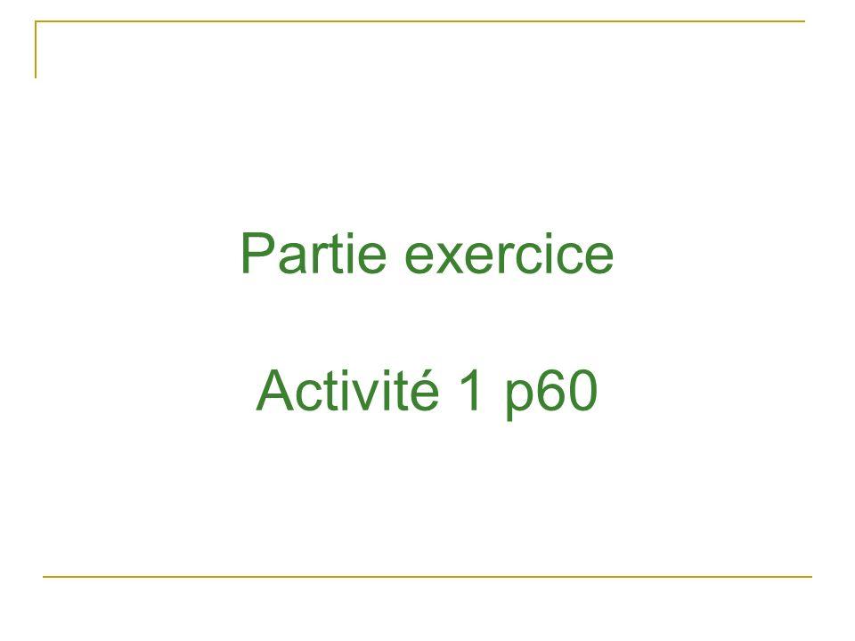 Partie exercice Activité 1 p60