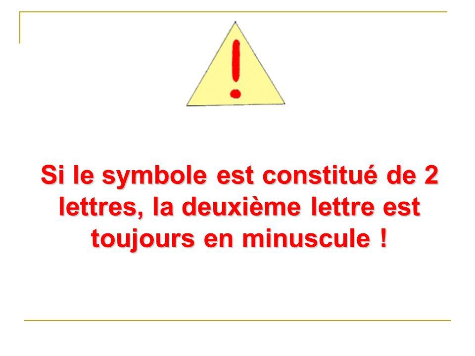 Si le symbole est constitué de 2 lettres, la deuxième lettre est toujours en minuscule !
