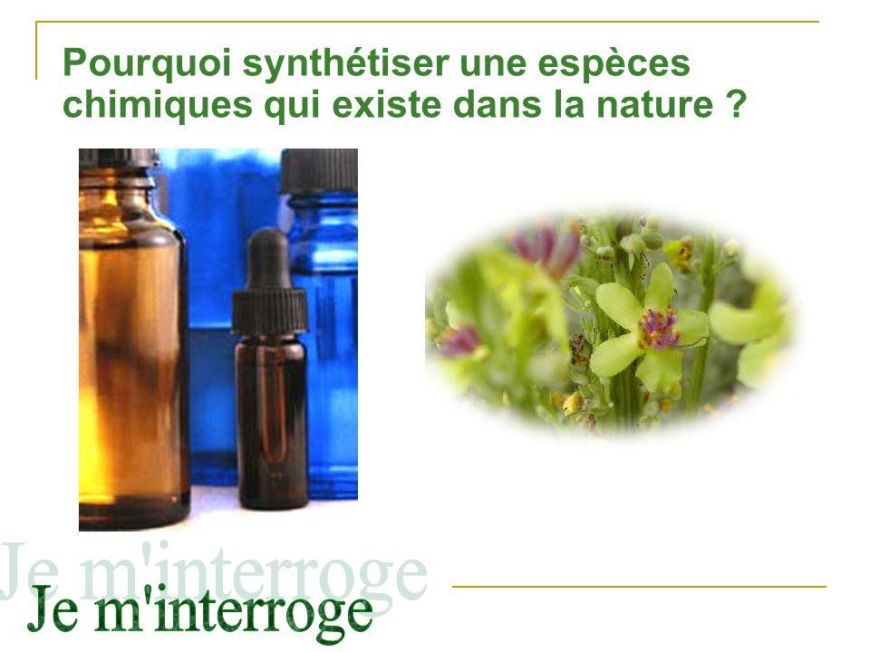 Pourquoi synthétiser une espèces chimiques qui existe dans la nature