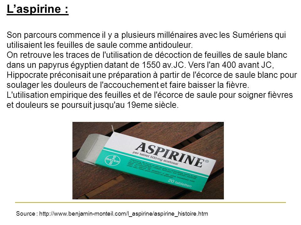 L'aspirine : Son parcours commence il y a plusieurs millénaires avec les Sumériens qui utilisaient les feuilles de saule comme antidouleur.