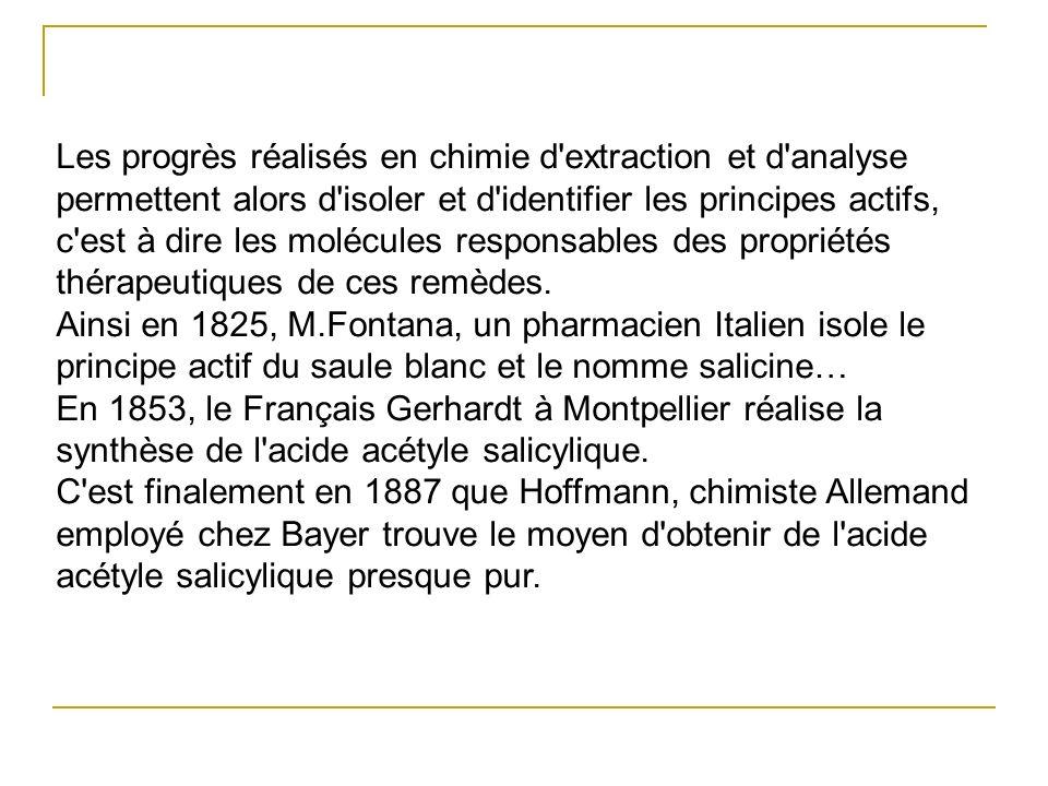 Les progrès réalisés en chimie d extraction et d analyse permettent alors d isoler et d identifier les principes actifs, c est à dire les molécules responsables des propriétés thérapeutiques de ces remèdes. Ainsi en 1825, M.Fontana, un pharmacien Italien isole le principe actif du saule blanc et le nomme salicine…