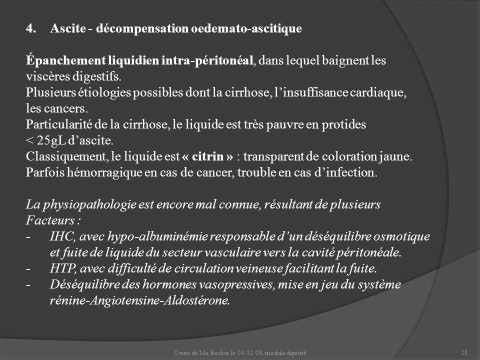 Cours de Me Becker le 04/12/08, module digestif