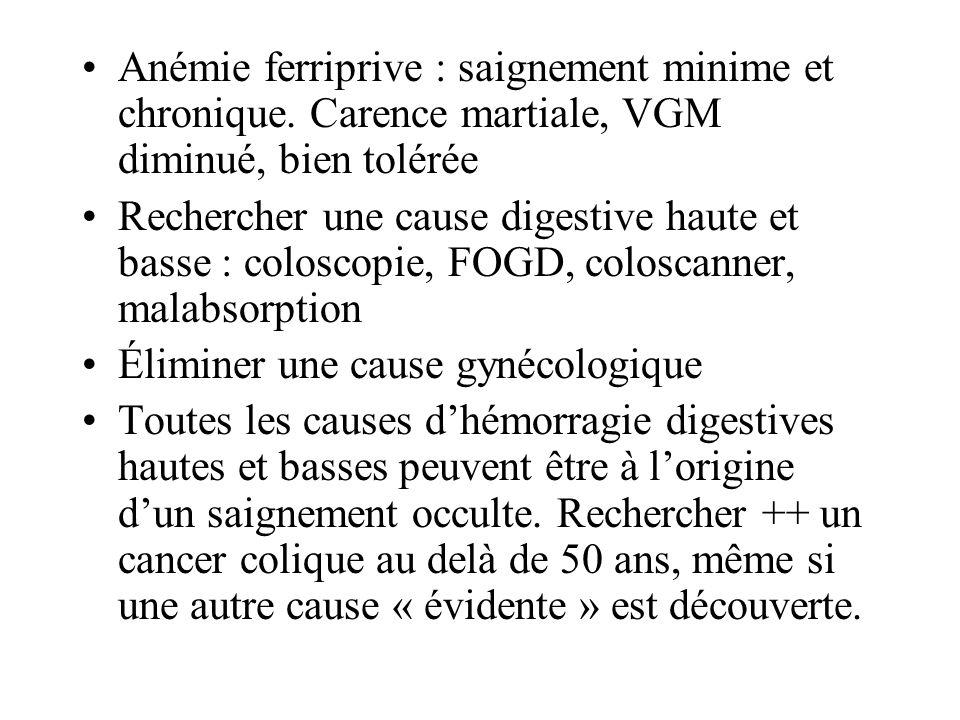 Anémie ferriprive : saignement minime et chronique