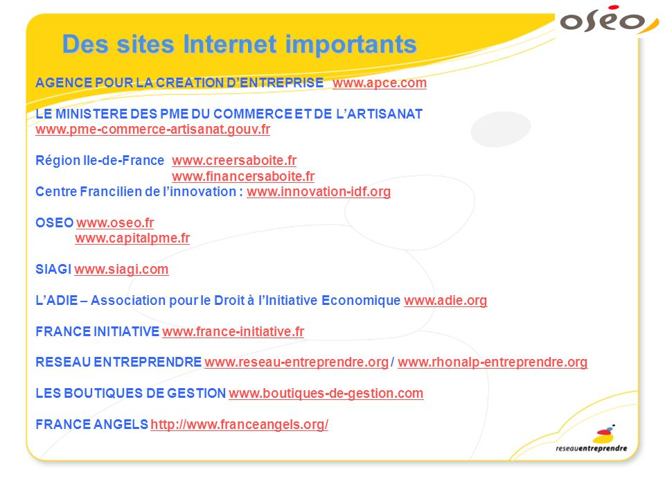 Des sites Internet importants