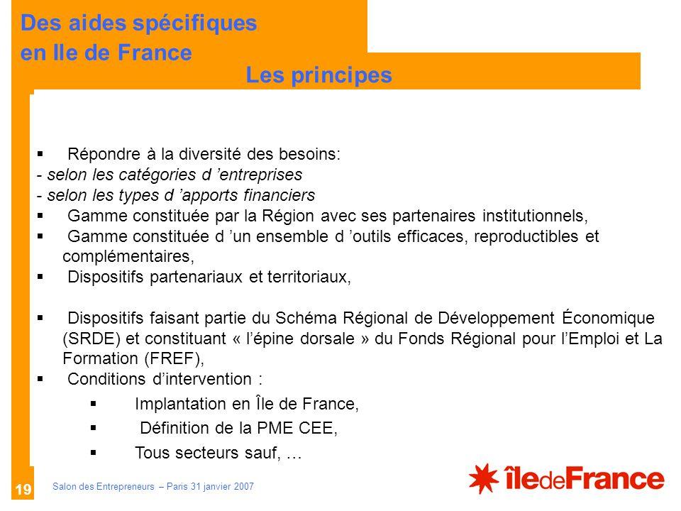 Des aides spécifiques en Ile de France Les principes