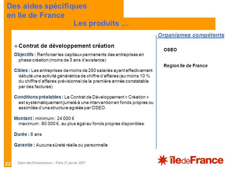 Des aides spécifiques en Ile de France Les produits …