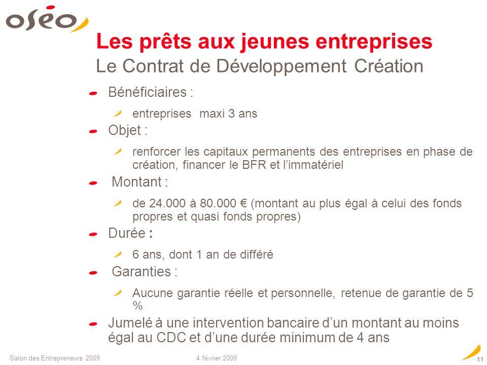 Les prêts aux jeunes entreprises Le Contrat de Développement Création