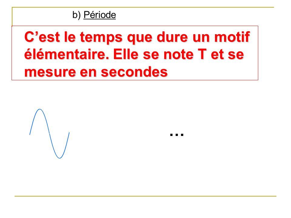 b) Période C'est le temps que dure un motif élémentaire. Elle se note T et se mesure en secondes …