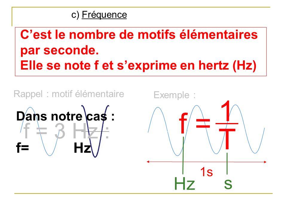 c) Fréquence C'est le nombre de motifs élémentaires par seconde. Elle se note f et s'exprime en hertz (Hz)
